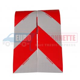 Bande réfléchissante blanc-rouge 50+50cm  x17cm
