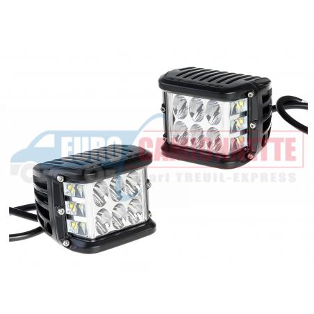 2x Phare de travail à LED Cube 12-24V grand angle