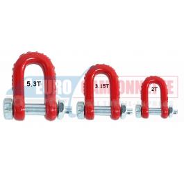 Manilles de treuillage 2T / 3.15T ou 5.3T rouge