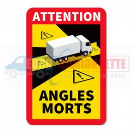Autocollant Angle Mort Poids Lourd Camion 17 cm x 25 cm