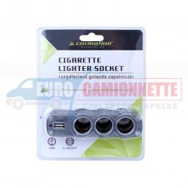 Triple prise allume-cigare avec 2 ports USB 12V/24V